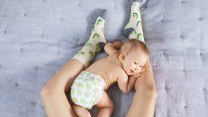 Baby on mom's legs