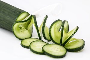 Fresh cucumber cut in spirals