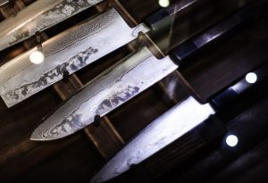 Damascus knives in a set