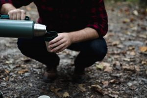 Man pour coffee