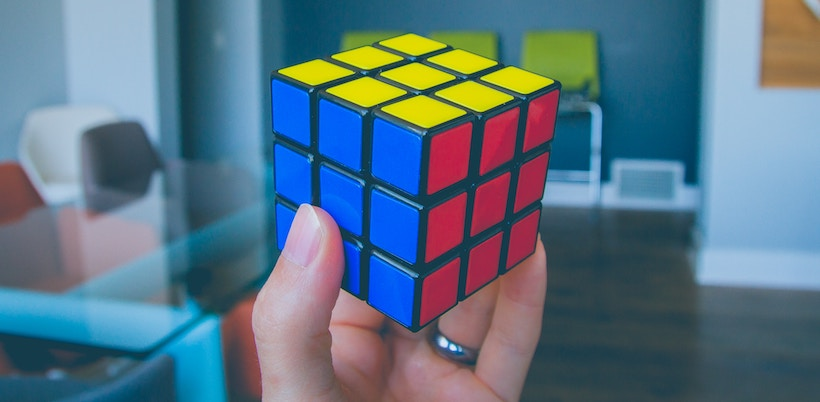Rubik's Cube in lady's hand
