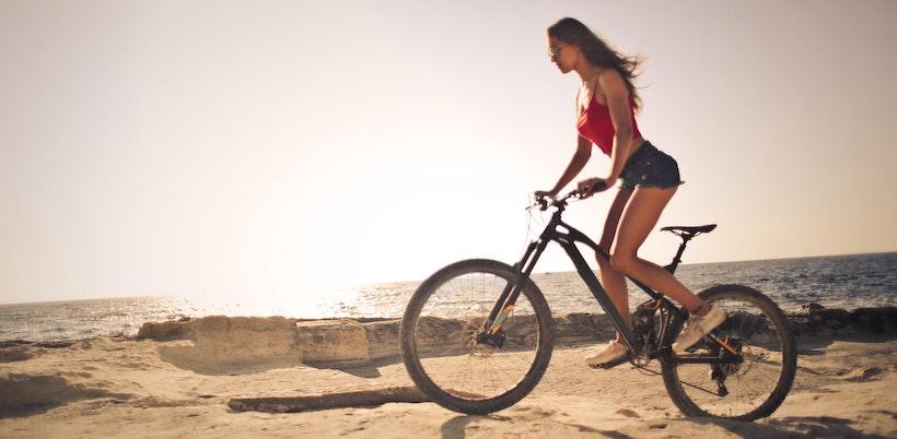 Woman on a mountain bike