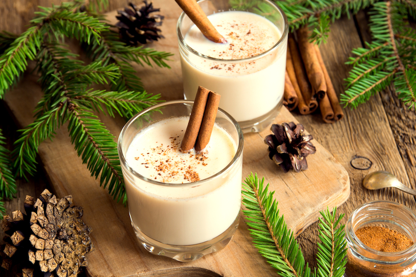 Eggnog with cinnamon for Christmas and winter holidays