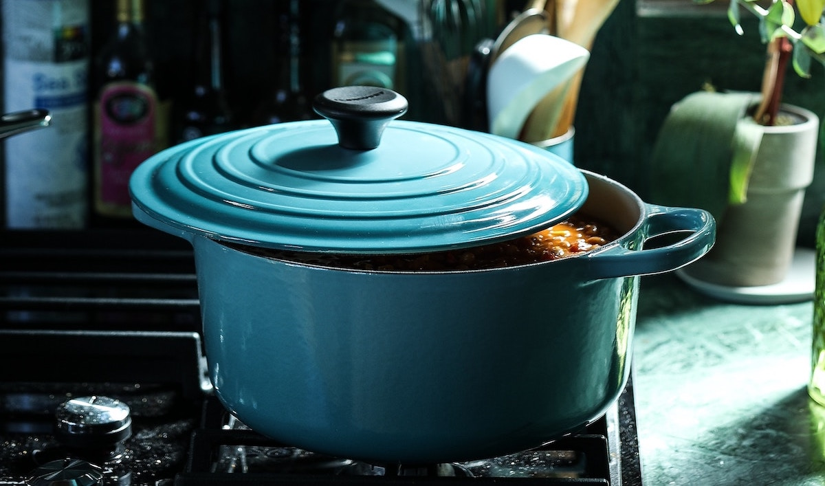 Enameled Dutch Oven on a stovetop