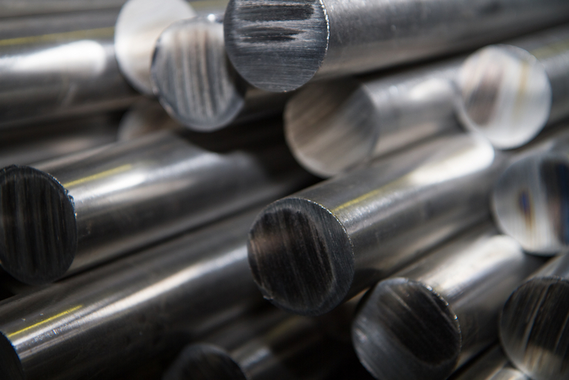 Titanium rods in a stack