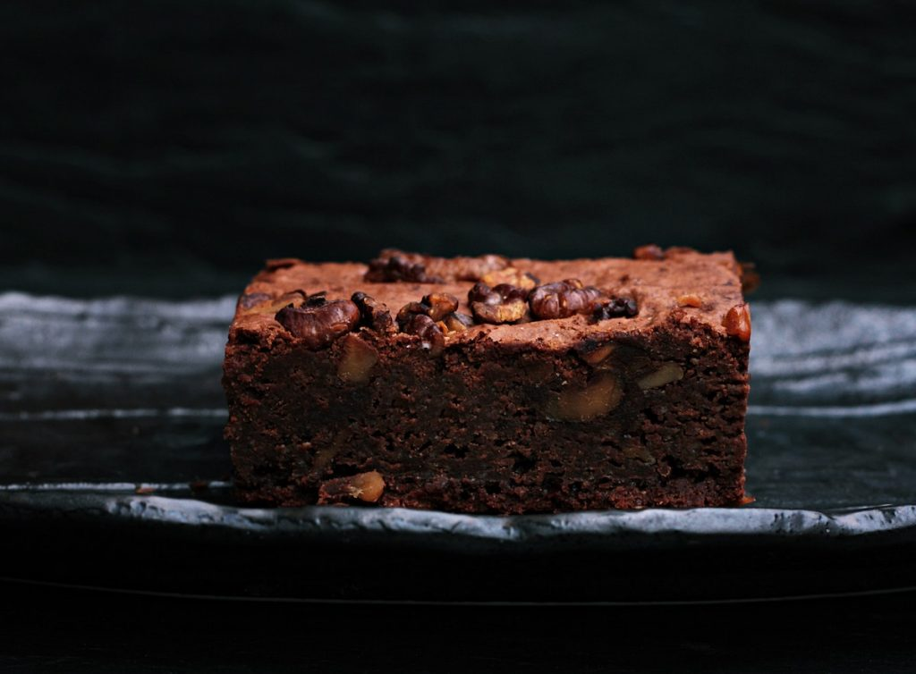 Isolated Brownie with a black background