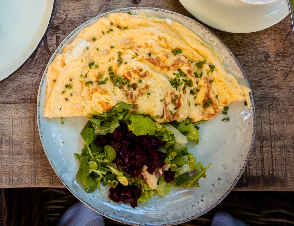 Omelette and salad on a plate