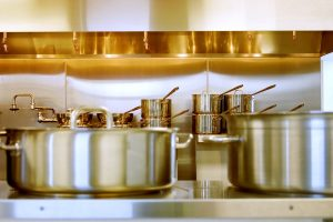 Stainless Cookware in Kitchen