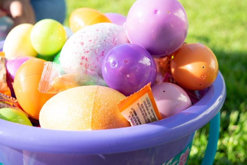 Children's Easter eggs and basket
