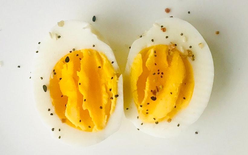 Pepper on hard boiled eggs