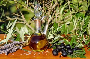 Outdoor scene with olive oil and olives
