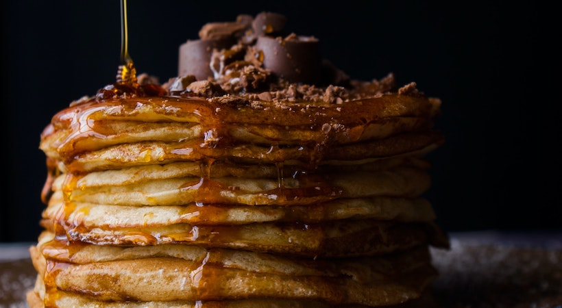 Pancakes with Chocolate and Maple Syrup