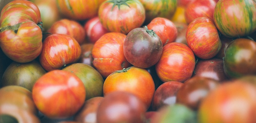 A selection of heirloom tomatoes