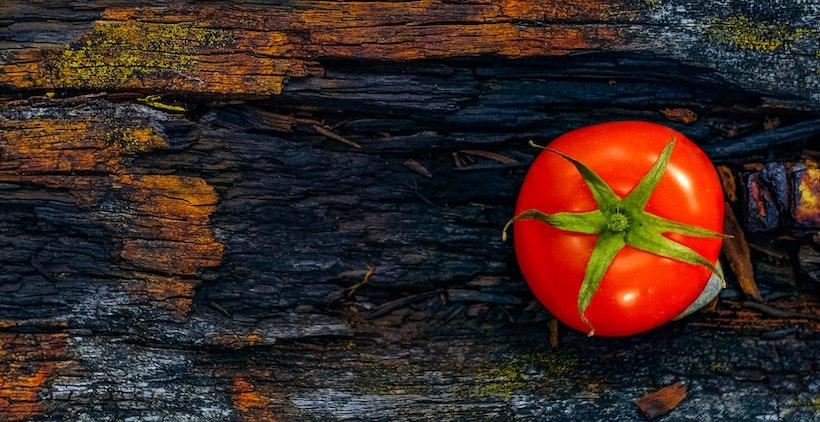Tomato on old wood