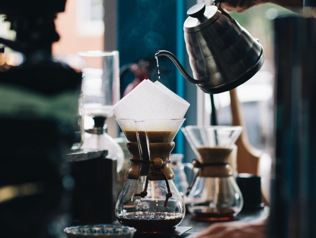 Pourover coffee made in a Chemex