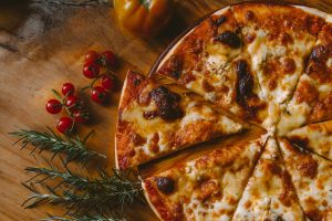 Great looking pizza with herbs and berries