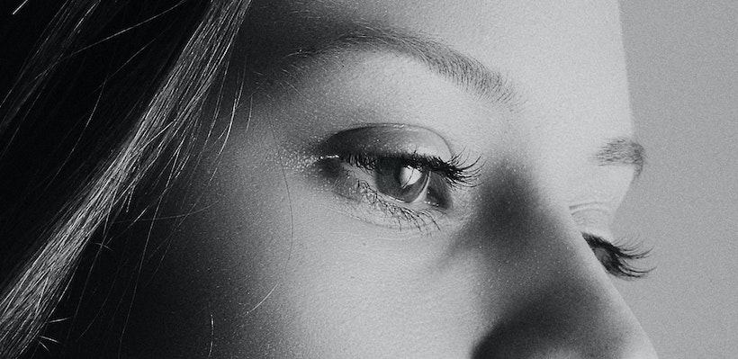 Woman eyes black and white